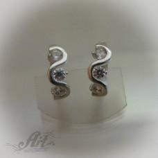 Сребърни обеци с цирконий - Е-421