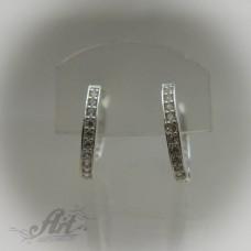 Сребърни обеци с цирконий - Е-422