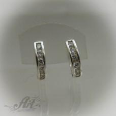 Сребърни обеци с цирконий - E-423