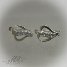 Сребърни обеци с цирконий - Е-427