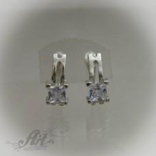 Сребърни обеци с цирконий - E-440
