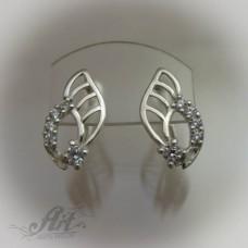 Сребърни обеци с цирконий - E-441
