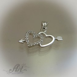 """Сребърен медальон с цирконий """" Сърца""""  P-265"""