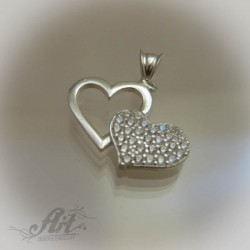 """Сребърен медальон с цирконий """" Сърце"""" P-273"""
