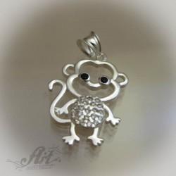 "Сребърен медальон с цирконий "" Маймунка"""