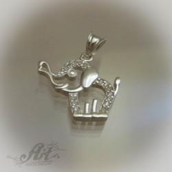 """Сребърен медальон с цирконий """" Слонче"""" P-291"""