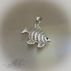 """Сребърен медальон с цирконий """" Рибка"""""""