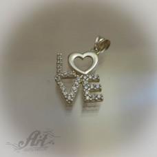 "Сребърен медальон с цирконий "" Обичам те"""