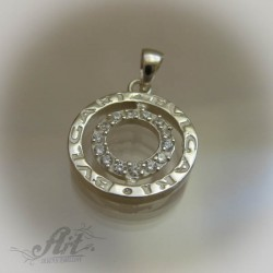 "Сребърен медальон с цирконий "" Bvlgari"""