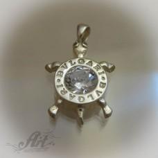 "Сребърен медальон с цирконий "" Костенурка"""