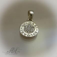 "Сребърен медальон с цирконий "" Bvlgari"" P-305"