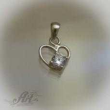 """Сребърен медальон с цирконий """" Сърце""""  P-306"""