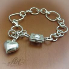 """Сребърна гривна  """" Сърце"""" B-111"""