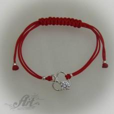 """Гривна с червен конец и сребро """" Сърце"""" B-034"""