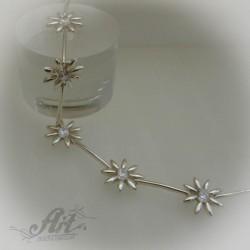 """Сребърна гривна с цирконий """" Цветя"""" B-068"""