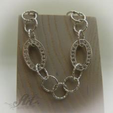 Сребърна гривна с цирконий B-073