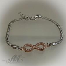 """Сребърна гривна с цирконий """" Infinity"""" B-095"""