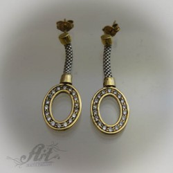 Сребърни, позлатени обеци с цирконий - E-487