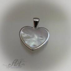 """Сребърен медальон с естествен камък. """" Бял седеф"""" P-392"""