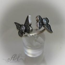 """Сребърен дамски пръстен с цирконий """" Пеперуди"""" R-470"""