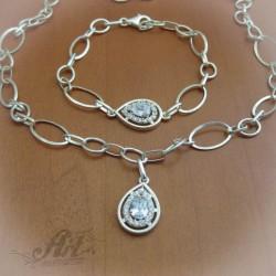 Сребърен комплект с цирконий