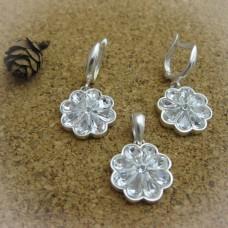 Сребърен комплект с камъни Swarovski