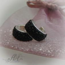 Сребърни обеци с камъни Swarovski - E-496