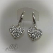 Сребърни обеци с камъни Swarovski - E-500