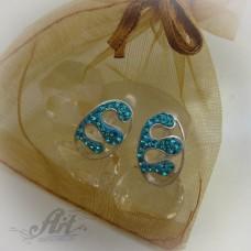 Сребърни обеци с камъни Swarovski - E-501