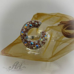 Сребърен дамски пръстен с камъни Swarovski R-482