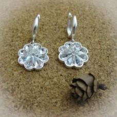 Сребърни обеци с камъни Swarovski - E-491