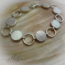 """Сребърна гривна с естествен камък """" Бял седеф"""" B-148"""