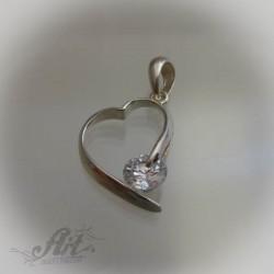 """Сребърен медальон с цирконий """" Сърце"""" P-405"""