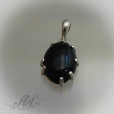 """Сребърен медальон с естествен камък """" Оникс"""" P-414"""