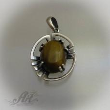 "Сребърен медальон с естествен камък "" Тигрово око"" P-417"