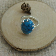 """Сребърен пръстен с естествен камък """"Тюркоаз"""" R-487"""