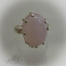 """Сребърен пръстен с естествен камък """" Розов кварц"""" R-490"""