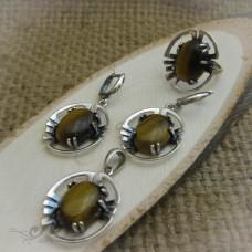 Дамски сребърен комплект с естествени камъни