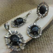 """Дамски сребърен комплект с естествен камък """" Ахат"""" S-183"""