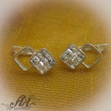 Сребърни обеци с камъни Swarovski - E-582