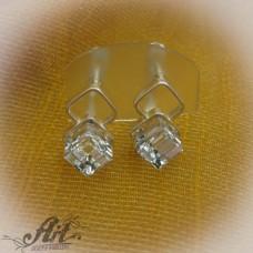 Сребърни обеци с камъни Swarovski - E-583