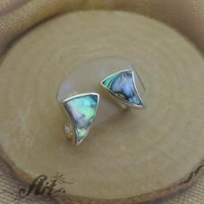Сребърни обеци с цветен седеф - E-596
