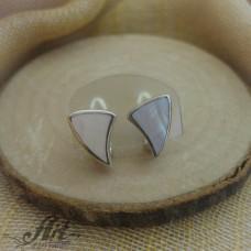 Сребърни обеци с бял седеф - E-597