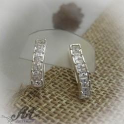 Сребърни обеци с цирконий - E-558