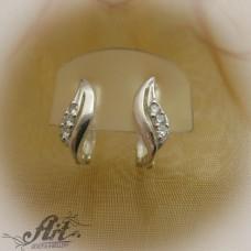 Сребърни обеци с цирконий - E-559