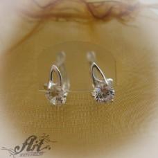 Сребърни обеци  с цирконий - E-562