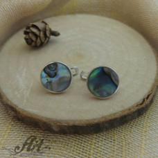 Сребърни обеци с цветен седеф - E-598