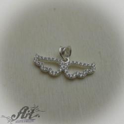 """Сребърен медальон с цирконий """" Ангелски крила"""""""