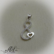 "Сребърен медальон с цирконий "" Безкрайна любов"""" P-555"