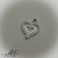 """Сребърен медальон с цирконий  """"Сърце"""" P-556"""